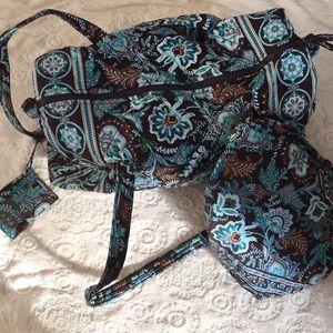 Vera Bradley small duffle java blue 3 piece set